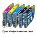 Epson T0441 t/m T0444 Multipack met extra zwart (5 cartridges)